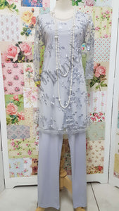 Silver Grey 3-Piece Pants Set CH0599
