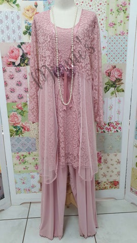 Dusty Pink 3-Piece Pants Set LR028