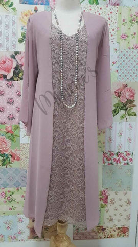 Dusty Pink Lace 2-Piece Dress Set NA0104