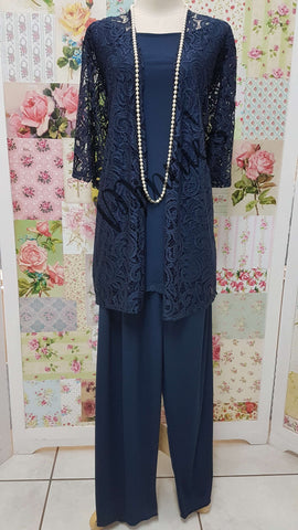 Navy Blue 3-Piece Pants Set SZ063
