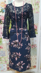 Navy Lace Floral Dress NA0107
