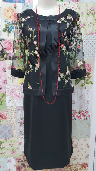 Black Floral Embroidered 2-Piece Dress NA0114