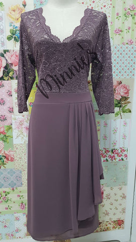 Mauve Lace & Chiffon Dress NA0105
