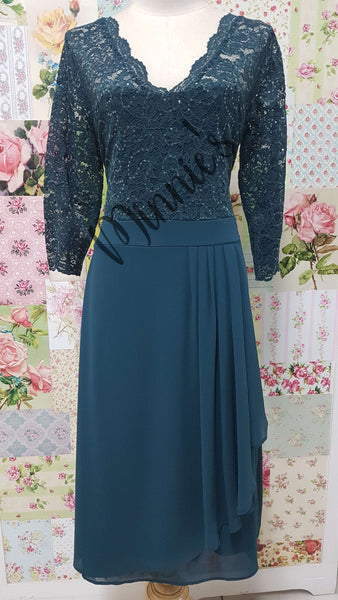 Emerald Lace & Chiffon Dress NA0106