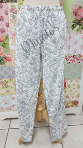 White Printed Pants AC072