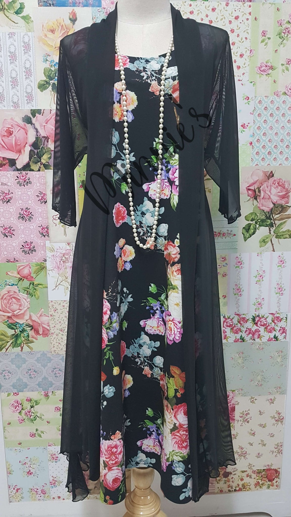 Black Floral 2-Piece Dress Set MB0238