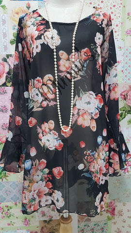 Black Chiffon Printed Top SH005