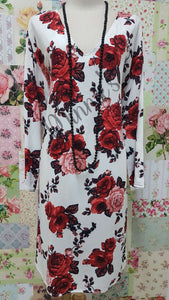 White & Red Printed Top SH007