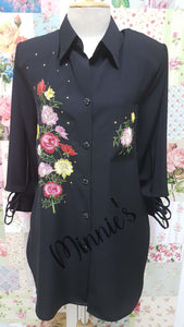 Black Blouse With Floral Print BU0154