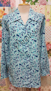 Turquoise Printed Blouse BK0435