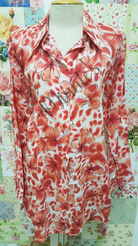 Orange Printed Blouse BK0433