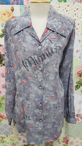 Grey Printed Blouse BK0440
