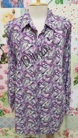 Purple Printed Blouse BK0443