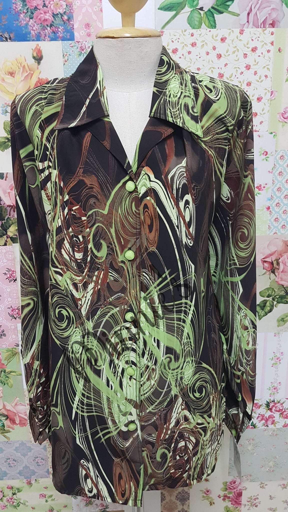 Brown & Lime Blouse BK0444