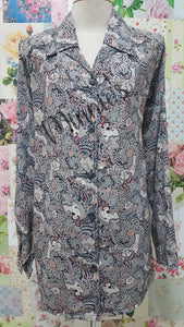 Grey Printed Blouse BT0152