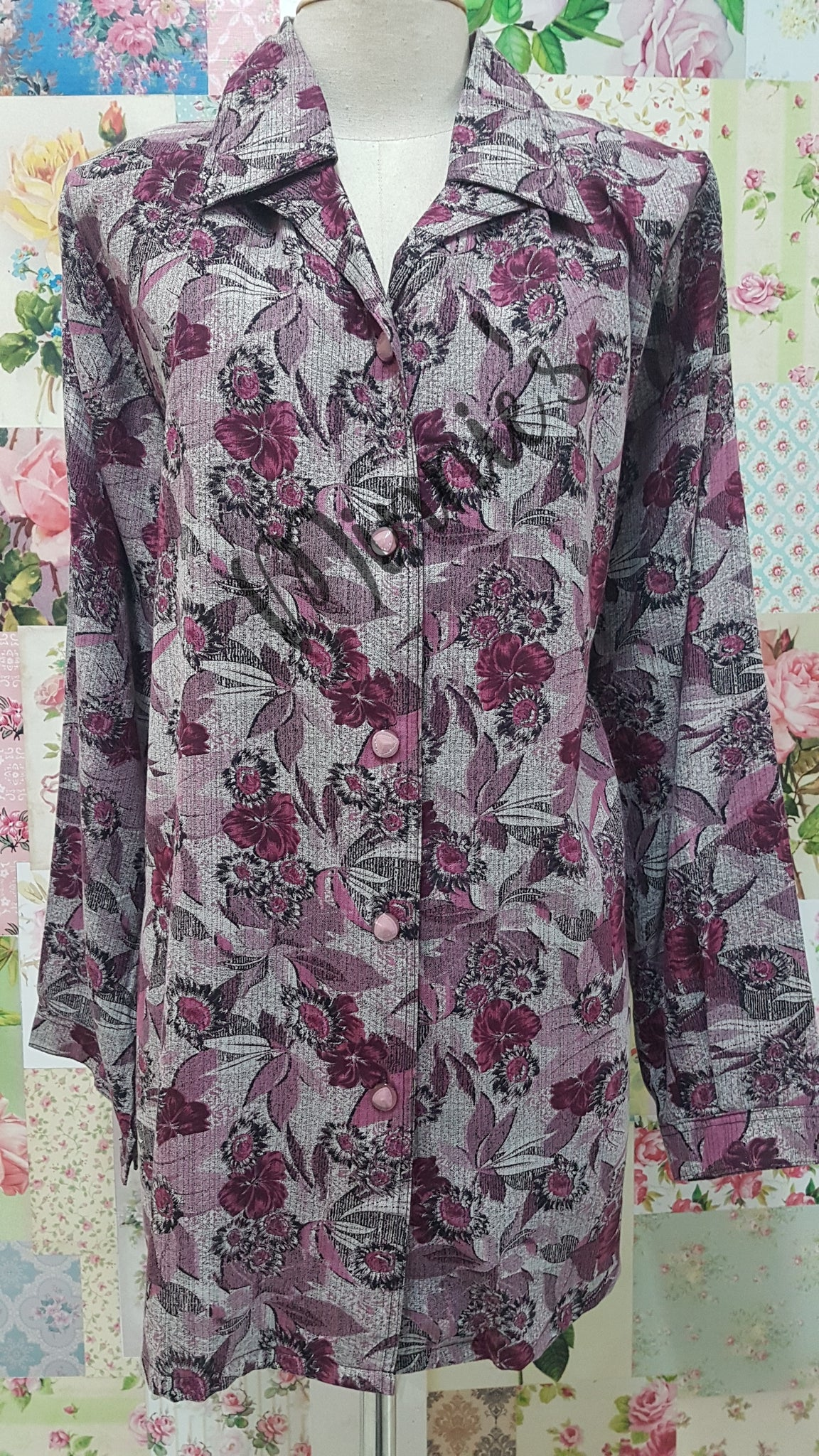 Maroon & Grey Blouse BT0150