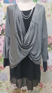 Silver Grey & Black Top LR0499