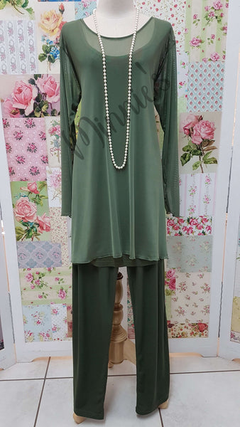 Olive Green 3-Piece Pants Set SH010