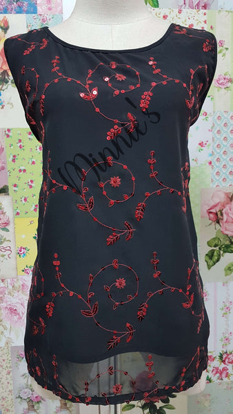 Black & Red Camisole BK0458