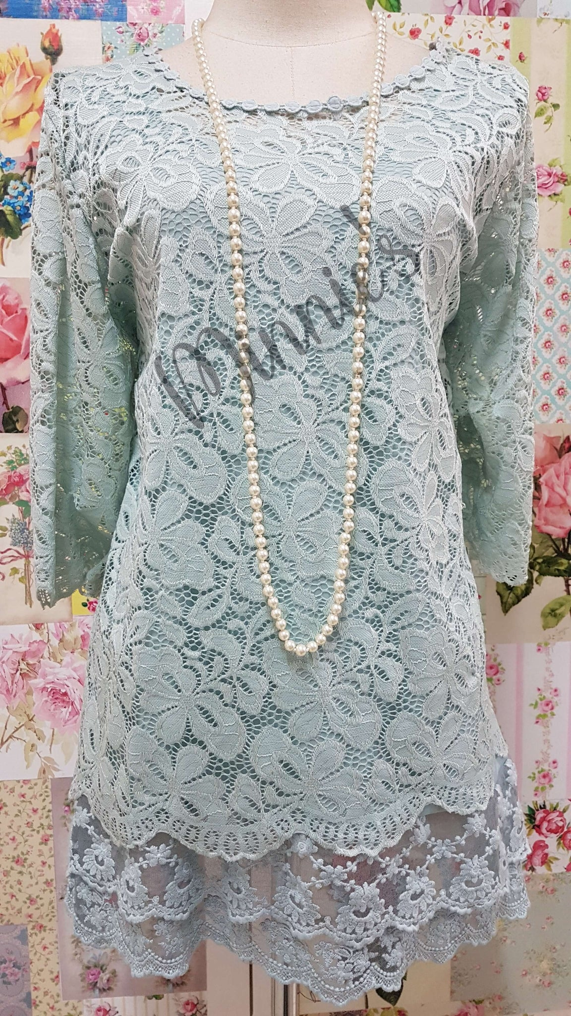 Duck Egg 2-Piece Lace Top SZ033
