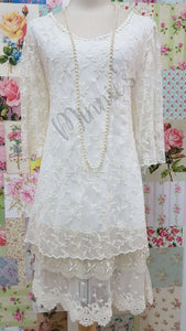 Cream 2-Piece Lace Top SZ031
