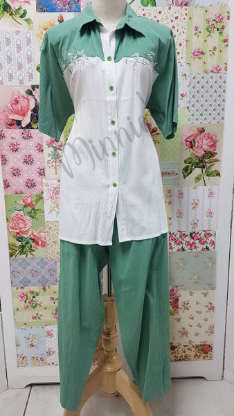 Green & White 3/4 Pants Set BS0150