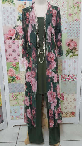 Olive Green & Pink Floral Top PG0101
