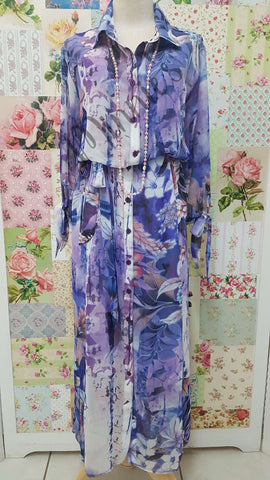 Purple Floral 2-Piece Dress HH001