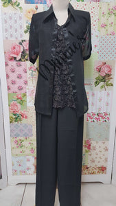 Black 3-Piece Pants Set BS070