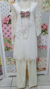 Cream Lace 2-Piece Pants Set AG025