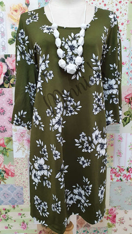 Olive Green Floral Top GD0197