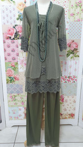 Olive Green 4-Piece Pants Set LR037