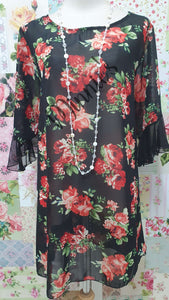 Black & Red Floral Top SH017