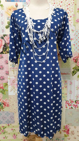 Navy & White Polka Dot Top LR052