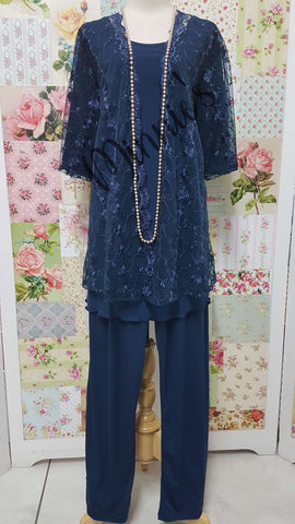 Navy Blue 3-Piece Pants Set SZ059