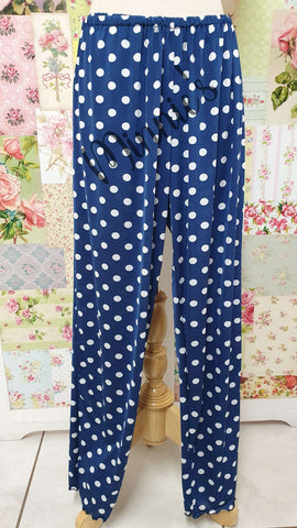 Navy Blue Polka Dot Pants LR054