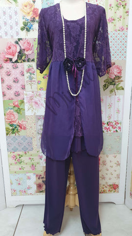 Purple 3-Piece Pants Set LR01