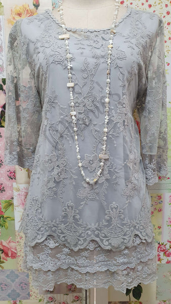 Grey Lace 2-Piece Top SZ015