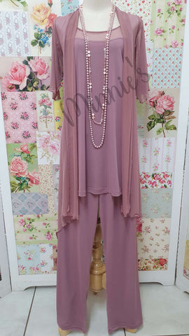 Dusty Pink 3-Piece Pants Set SH023
