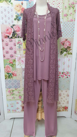 Dusty Pink Lace 3-Piece Pants Set SH024