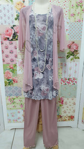 Dusty Pink Floral 4-Piece Pants Set LR0117