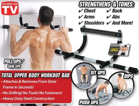 d13910e0a47 The Total Upper Body Workout Bar is a multi-function strength training  device that promises to sculpt your upper body through pull ups