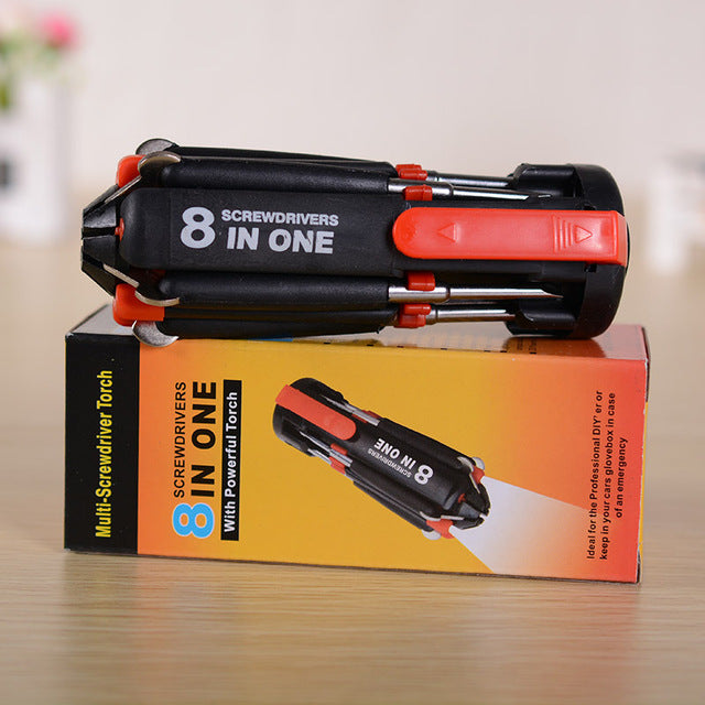 8 In 1 Multi-function Screwdriver Torch Combination LED Light Screwdriver Tools (BUY 1 TAKE 1)