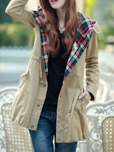 Fantastic Hooded With Pockets Assorted Colors Plaid Trench-Coats