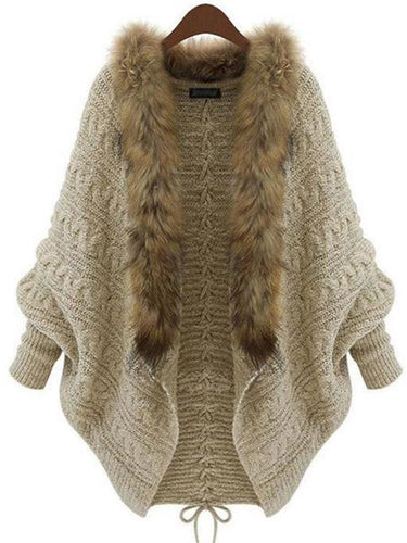 Women's Fur Collar Sweaters Knit Cardigan Outerwear