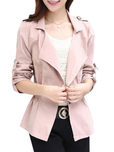 Stylish Lapel Single Breasted Plain Trench-Coats
