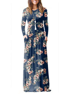 Round Neck Floral Long Sleeve Maxi Dresses