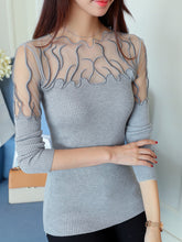 Autumn Spring Winter  Knit Organza  Women  Asymmetric Neck  Plain  Long Sleeve Pullover