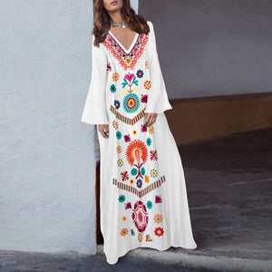 Cotton/Linen V-Neck  Printed Fringed  Casual Maxi Dress