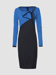 Blue Back Slit Color Block Awesome Round Neck Bodycon Dress